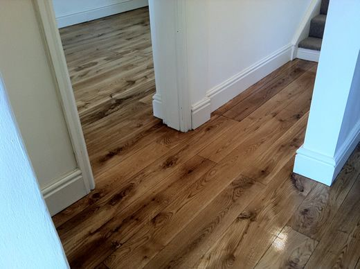 Hardwood Flooring in Hallway Sanded and Sealed in North Wales by Woodfloor-Renovations